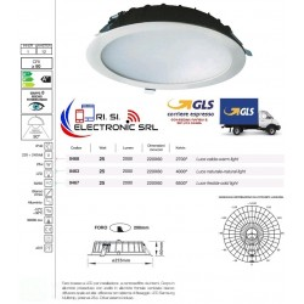 MERY FARO LED INCASSO 25W 2700K 90° 2000LM 220/240V 50/60Hz DIMENS.220X60 LUCE CALDA BIANCO