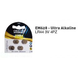 OMEGA PILE A BOTTONE LR44 ULTRA ALKALINE IN BLISTER 1.5V CONFEZIONE 4 PZ.