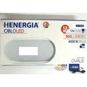 PLAFONIERA OBLO LED 12W OVALE IP54 4000K 120° 960LM 220/240V 50/60Hz DIMENS.198X97X39 LUCE NATURALE BIANCO