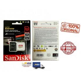 SANDISK EXTREME MICROSDXC DA 64 GB E ADATTATORE SD FINO A 100 MB/SEC, CLASSE 10, U3, V30 A1