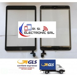 TOUCH SCREEN DI RICAMBIO PER APPLE IPAD MINI 3 NERO WIFI 3G A1599/A1600 IC INCLUSO + BIADESIVO