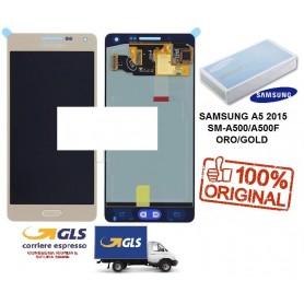 LCD DISPLAY (SAMOLED) DI RICAMBIO ORIGINALE SAMSUNG A5 2015 SM-A500F ORO/GOLD GH97-16679F