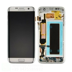 LCD DISPLAY (SAMOLED) DI RICAMBIO ORIGINALE SAMSUNG S7 EDGE G935F FRAME BIANCO GH97-18533D