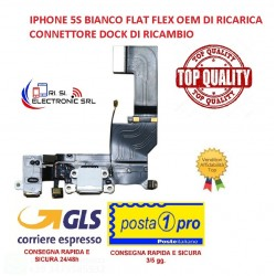 APPLE IPHONE 5S BIANCO FLAT FLEX OEM DI RICARICA CONNETTORE DOCK - 5S Charging Port - White