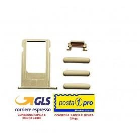 IPHONE 6S  GOLD SET DI RICAMBIO PULSANTI (VOLUME-MUTE-ON/OFF-CARRELLO SIM) - Card Tray + Volume Control Key + Power Button + Mu