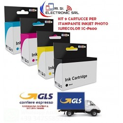 KIT 9 CARTUCCE PER STAMPANTE INKJET PHOTO SURECOLOR SC-P600