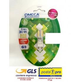OMEGA LAMPADINA LED MINI CILINDRO 300° 5W ATTACCO G9 3000K 350LM A+ 80mA LUCE CALDA