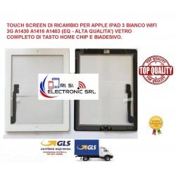 Touch screen di ricambio per Apple Ipad 3 bianco wifi 3G A1430 A1416 vetro+tasto home chip e biadesivo