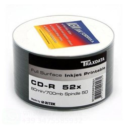 TRAXDATA CD-R 52 X PRINTABLE FULL FACE WHITE IN CELL. 50 PZ.
