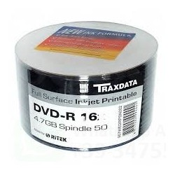 TRAXDATA DVD-R 16 X PRINTABLE FULL FACE WHITE IN CELL. 50 PZ.