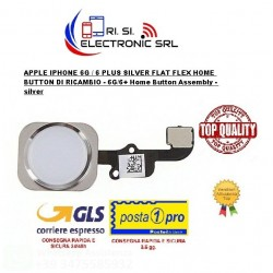 APPLE IPHONE 6G / 6 PLUS BIANCO SILVER FLAT FLEX HOME BUTTON DI RICAMBIO - 6G/6+ Home Button Assembly - silver