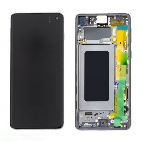 LCD DISPLAY (AMOLED) DI RICAMBIO ORIGINALE SAMSUNG S10 G973/G973F/DS+FRAME PRISM WHITE GH82-18850B