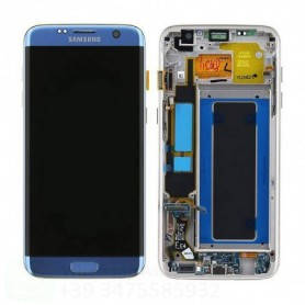LCD DISPLAY DI RICAMBIO ORIGINALE SAMSUNG S7 EDGE G935/G935F FRAME BLUE CORAL GH97-18533G