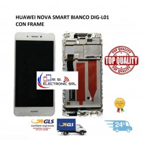 LCD DISPLAY TOUCH SCREEN DI RICAMBIO PER HUAWEI NOVA SMART BIANCO CON FRAME DIG-L01
