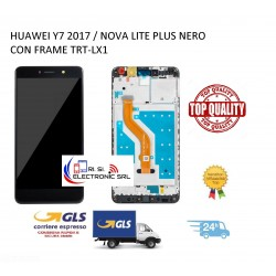 LCD DISPLAY TOUCH SCREEN DI RICAMBIO PER HUAWEI Y7 2017 / NOVA LITE PLUS NERO CON FRAME TRT-LX1