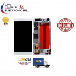 LCD DISPLAY TOUCH SCREEN DI RICAMBIO PER HUAWEI P8 BIANCO CON FRAME GRA-L09
