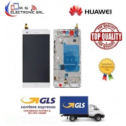 LCD DISPLAY TOUCH SCREEN DI RICAMBIO PER HUAWEI P8 LITE  BIANCO CON FRAME ALE-L21