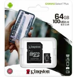 KINGSTON MEMORIA MICRO-SDCS2/64GB CLASSE 100 R A1  100MB/s R. CON ADATTATORE SD