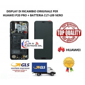DISPLAY LCD ORIGINALE HUAWEI P20 PRO NERO CLT-L09 FRAME+ BATTERIA