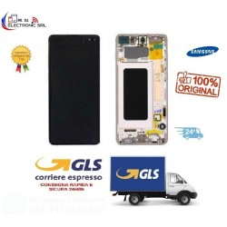 LCD DISPLAY (SAMOLED) ORIGINALE SAMSUNG S10 PLUS G975 + FRAME CERAMIC WHITE GH82-18849J