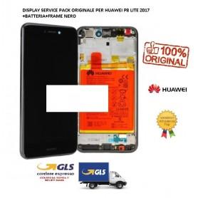 LCD DISPLAY ORIGINALE  HUAWEI P8 LITE 2017 NERO FRAME + BATTERIA 02351VBT CTJ