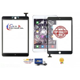 VETRO TOUCH SCREEN DI RICAMBIO PER APPLE IPAD MINI 3 A1455, A1599,A1600 NERO TOP QUALITY NO CHIP NO TASTO HOME