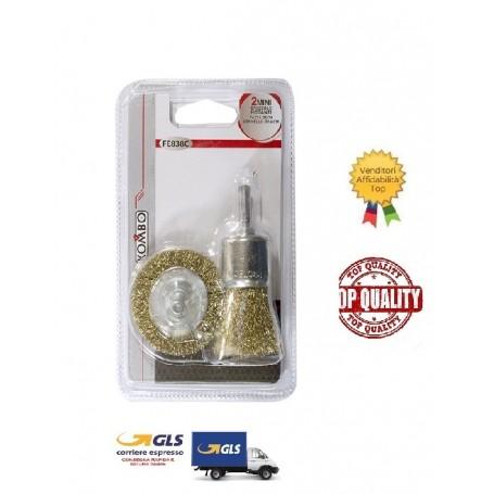 KOMBO Set 2 pz. mini spazzole smerigliatrici con filo ondulato ad alta resistenza a pennello