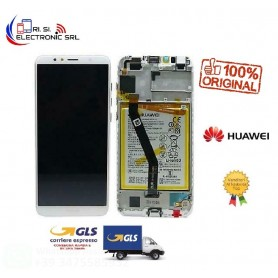 LCD DISPLAY SERVICE PACK ORIGINALE HUAWEI Y6 2018+ BATTERIA+FRAME BIANCO/WHITE - 02351WLJ