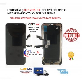 """LCD DISPLAY ( OLED VERS. GX ) PER APPLE IPHONE XS MAX NERO 6.5"""" + TOUCH SCREEN E FRAME"""