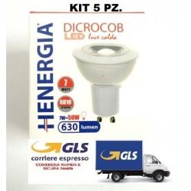 KIT 5 PZ. - DICROCOB LED 7W 3000K 60° ATTACCO GU10 630LM 220/240V MODELLO R16 LUCE CALDA