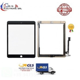 TOUCH SCREEN PER APPLE IPAD 4 NERO A1458 A1459 COMPLETO TASTO HOME CHIP E BIADESIVO.