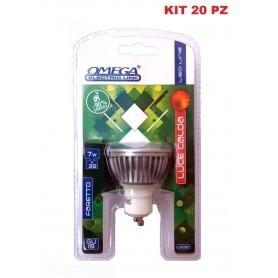 SET 20 PZ OMEGA LAMPADA LED FARETTO GU10 7W 7BULB 3000 DOPPIO BLISTER 400LM 50X55mm 50Hz 220V