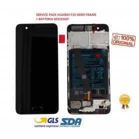 LCD DISPLAY SERVICE PACK ORIGINALE PER HUAWEI P10 NERO FRAME + BATTERIA 02351DGP