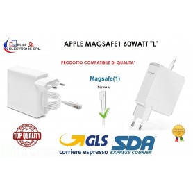 "ALIMENTATORE PER MACBOOK AIR CARICABATTERIA COMPAT. APPLE MAGSAFE1 60WATT  "" L"""