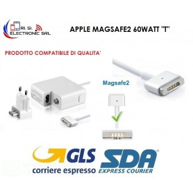 "ALIMENTATORE PER MACBOOK AIR CARICABATTERIA COMPAT. APPLE MAGSAFE2 60WATT  "" T """