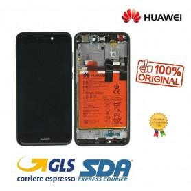 LCD DISPLAY ORIGINALE SERVICE HUAWEI HONOR 8 LITE NERO + BATTERIA + FRAME 02351UYD