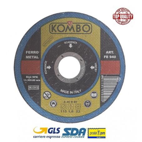 KOMBO SET 2 DISCHI DA TAGLIO FERRO DIAM.115MM SP. 1.6MM FORO DA 22,23MM MADE IN ITALY