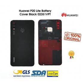 BACK COVER POSTERIORE ORIGINALE HUAWEI P20 LITE ANE-LX1 NERO+BIADESIVO