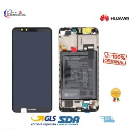 LCD DISPLAY ORIGINALE HUAWEI Y9 2018 NERO FRAME+ BATTERIA  FLA-L22 - 02351VFR