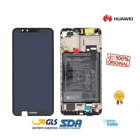 LCD DISPLAY ORIGINALE HUAWEI Y9 2018 NERO FRAME+ BATTERIA  FLA-L22 - 02351VFR