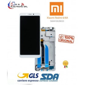 LCD DISPLAY ORIGINALE XIAOMI REDMI 6/6A BIANCO + FRAME SERVICE PACK M1804C3