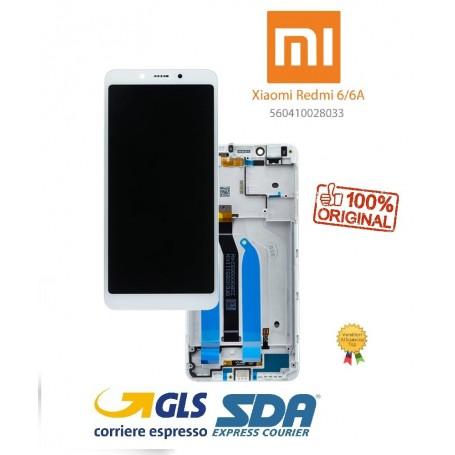 LCD DISPLAY ORIGINALE XIAOMI REDMI 6/6A BIANCO + FRAME SERVICE PACK M1804C3