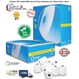 ROTOLINO DI CARTA TERMICO PER POS 57 X 35DM F.12 EXCLUSIVE  BPA FREE CONFEZIONE 100 ROTOLINI