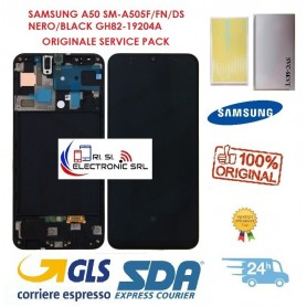 DISPLAY LCD + TOUCH SCREEN ORIGINALE SAMSUNG A50 SM-A505F/FN/DS NERO