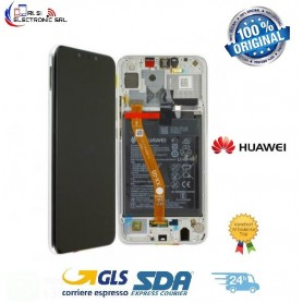 LCD DISPLAY ORIGINALE HUAWEI P SMART+(PLUS) BIANCO +FRAME+BATTERIA INE-LX1 NOVA 3i INE-LX2- 02352BUE