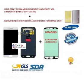 LCD DISPLAY (SAMOLED)  ORIGINALE SAMSUNG S7 SM-G930 BIANCO + BIADESIVO GH97-18523D