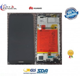 DISPLAY LCD TOUCH SCREEN ORIGINALE HUAWEI Y7 2018 + BATTERIA FRAME NERO