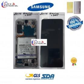 DISPLAY LCD (SAMOLED) ORIGINALE SAMSUNG S21 5G SM-G991F/FN/DS BIANCO + BATTERIA