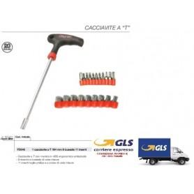 GIRAVITE A T DIM.:5X125MM, DOTATO DI 9 PUNTE BUSSOLA E 11 PUNTE ASSORTITE CROCE/SPACCATA/ESAGONALI/TORX
