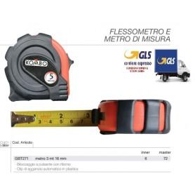METRO FLESSIBILE AUTORETRATTILE CON CLIP 3MTX16MM. BLOCCAGGIO A PULSANTE CON RITORNO